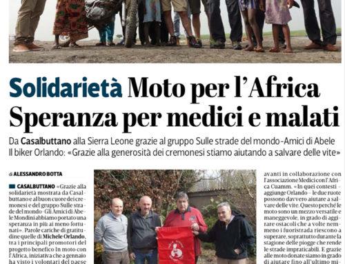 """La provincia di Cremona – """"MOTO PER L'AFRICA SPERANZA PER MEDICI E MALATI"""""""