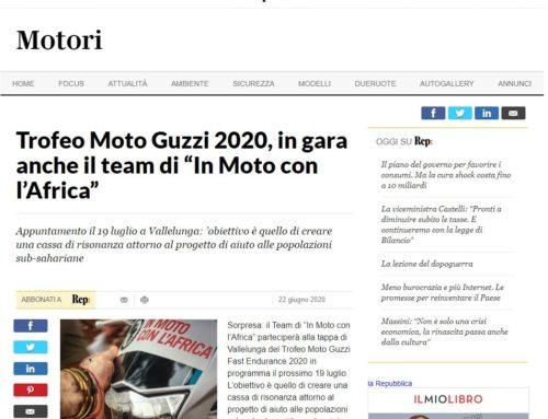 """LaRepubblica.it – Trofeo Moto Guzzi 2020, in gara anche il team di """"In Moto con l'Africa"""""""
