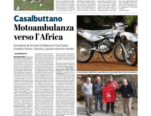 La Provincia – Motoambulanza verso l'Africa