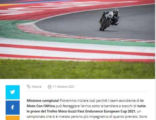 In Moto con l'Africa. Rocambolesco finale di stagione a Misano nel Guzzi Fast Endurance